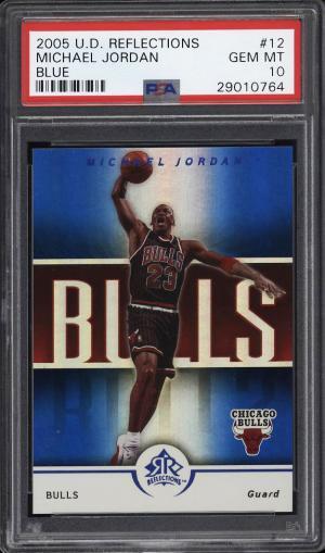 Image of: 2005 Upper Deck Reflections Blue Michael Jordan /50 #12 PSA 10 GEM MINT (PWCC)