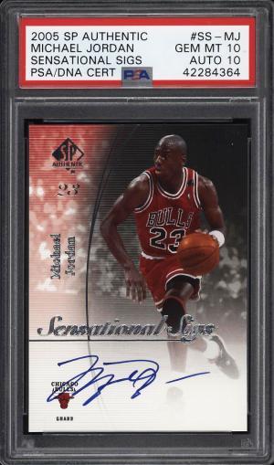 Image of: 2005 SP Authentic Sensational Sigs Michael Jordan PSA/DNA 10 AUTO PSA 10 (PWCC)