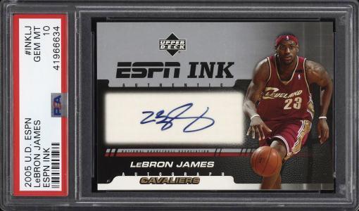 Image of: 2005 Upper Deck ESPN Ink LeBron James AUTO #INKLJ PSA 10 GEM MINT (PWCC)