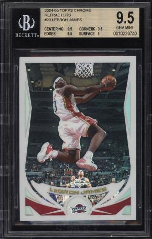 Image of: 2004 Topps Chrome Refractor LeBron James #23 BGS 9.5 GEM MINT (PWCC)
