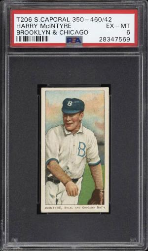 Image of: 1909-11 T206 Harry McIntyre BROOKLYN & CHICAGO, SC FACTORY 42 PSA 6 EXMT (PWCC)