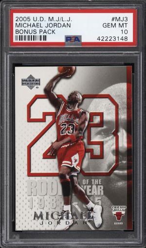 Image of: 2005 Upper Deck MJ LJ Bonus Pack Michael Jordan #MJ3 PSA 10 GEM MINT (PWCC)