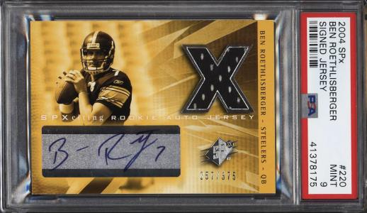 e747ec79d0d 11102, Image of: 2004 SPx Signed Jersey Ben Roethlisberger ROOKIE RC AUTO  PATCH /375 PSA