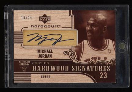Image of: 2005 Upper Deck Hardcourt Hardwood Signatures Michael Jordan AUTO /25 (PWCC)