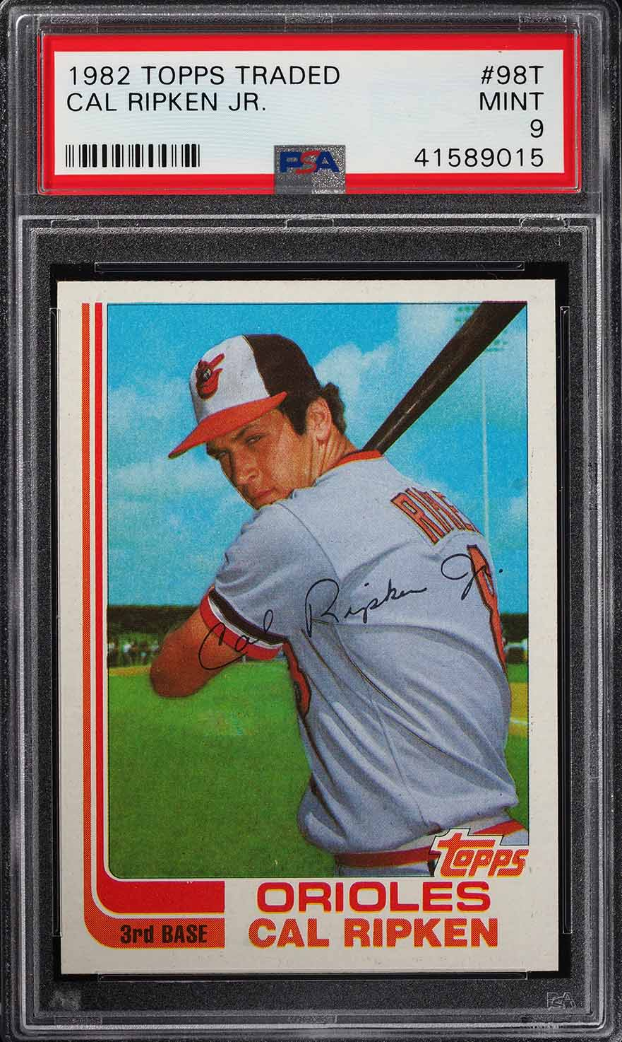 Image of: 1982 Topps Traded Cal Ripken Jr. ROOKIE RC #98T PSA 9 MINT (PWCC)