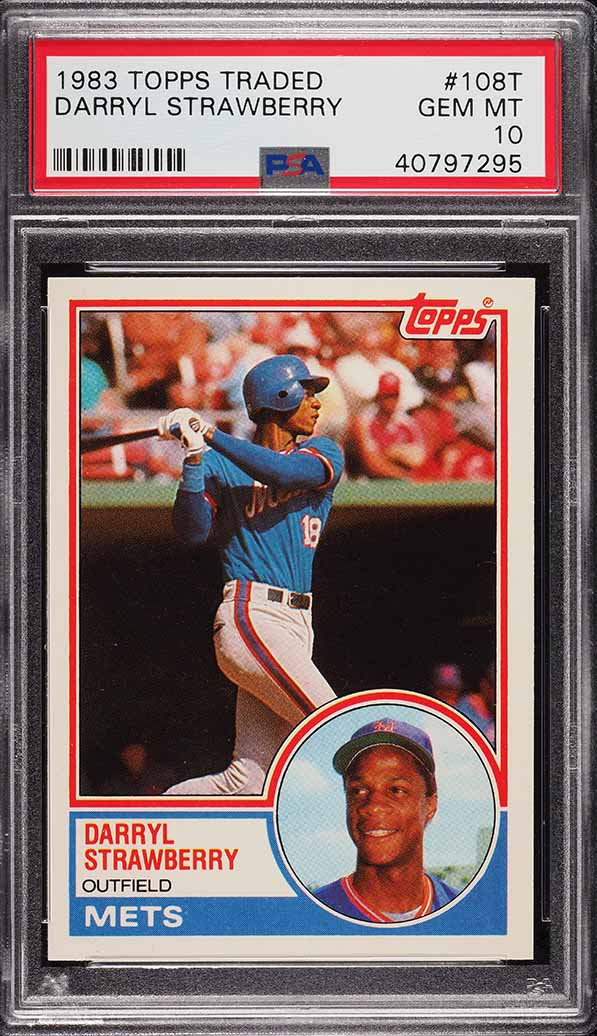 Image of: 1983 Topps Traded Darryl Strawberry ROOKIE RC #108T PSA 10 GEM MINT (PWCC)