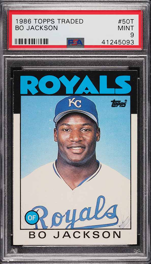 Image of: 1986 Topps Traded Bo Jackson ROOKIE RC #50T PSA 9 MINT (PWCC)