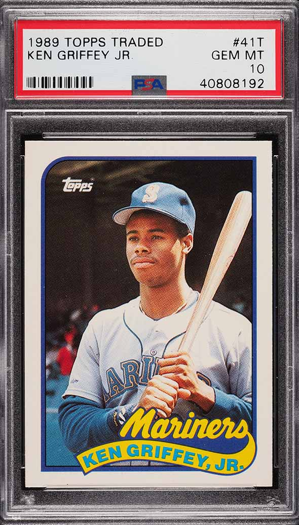 Image of: 1989 Topps Traded Ken Griffey Jr. ROOKIE RC #41T PSA 10 GEM MINT (PWCC)