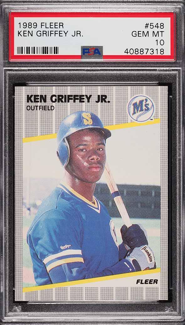 Image of: 1989 Fleer Ken Griffey Jr. ROOKIE RC #548 PSA 10 GEM MINT (PWCC)