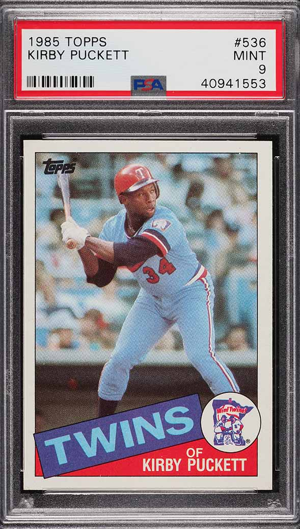 Image of: 1985 Topps Kirby Puckett ROOKIE RC #536 PSA 9 MINT (PWCC)