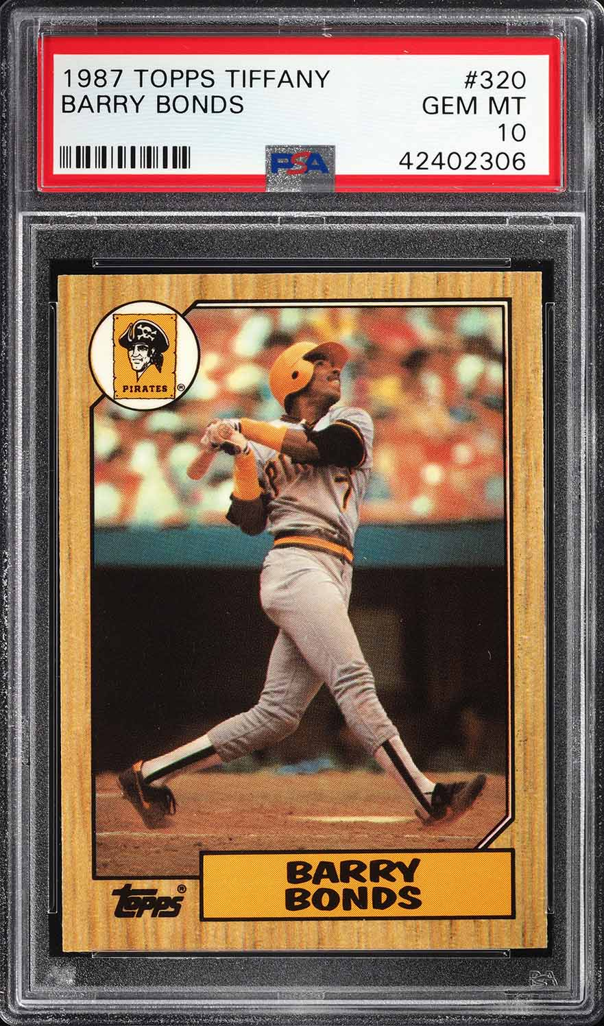 Image of: 1987 Topps Tiffany Barry Bonds ROOKIE RC #320 PSA 10 GEM MINT (PWCC)