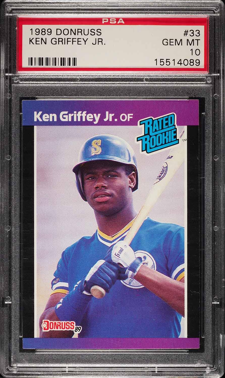 Image of: 1989 Donruss Ken Griffey Jr. ROOKIE RC #33 PSA 10 GEM MINT (PWCC)