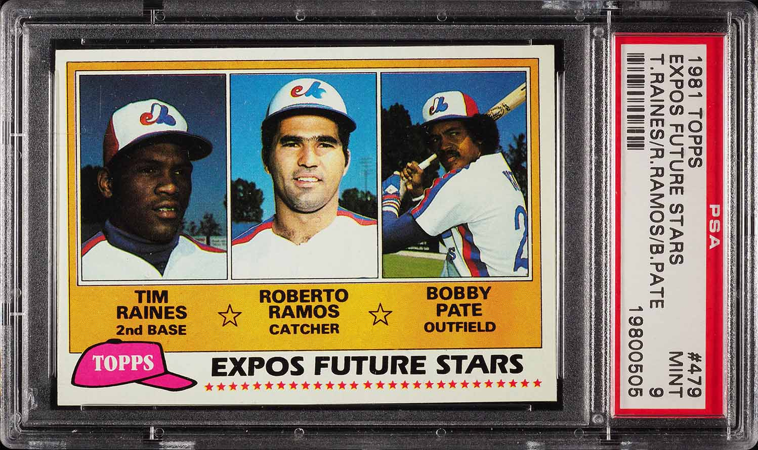 Image of: 1981 Topps Tim Raines ROOKIE RC #479 PSA 9 MINT (PWCC)