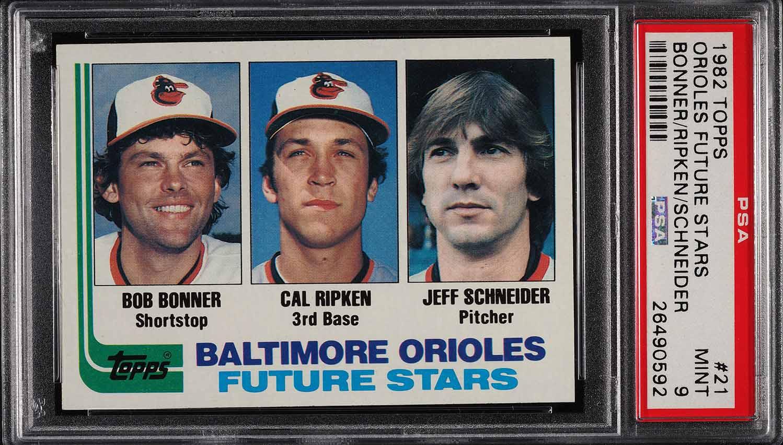 Image of: 1982 Topps Cal Ripken Jr. ROOKIE RC #21 PSA 9 MINT (PWCC)