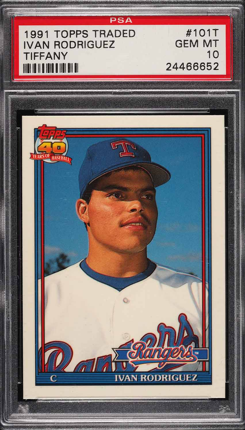 Image of: 1991 Topps Traded Tiffany Ivan Rodriguez ROOKIE RC #101T PSA 10 GEM MINT (PWCC)