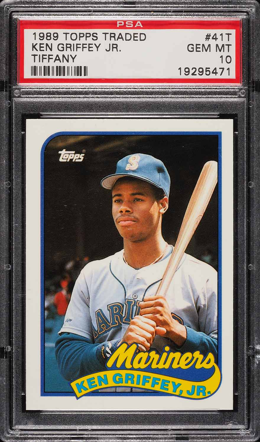 Image of: 1989 Topps Traded Tiffany Ken Griffey Jr. ROOKIE RC #41T PSA 10 GEM MINT (PWCC)