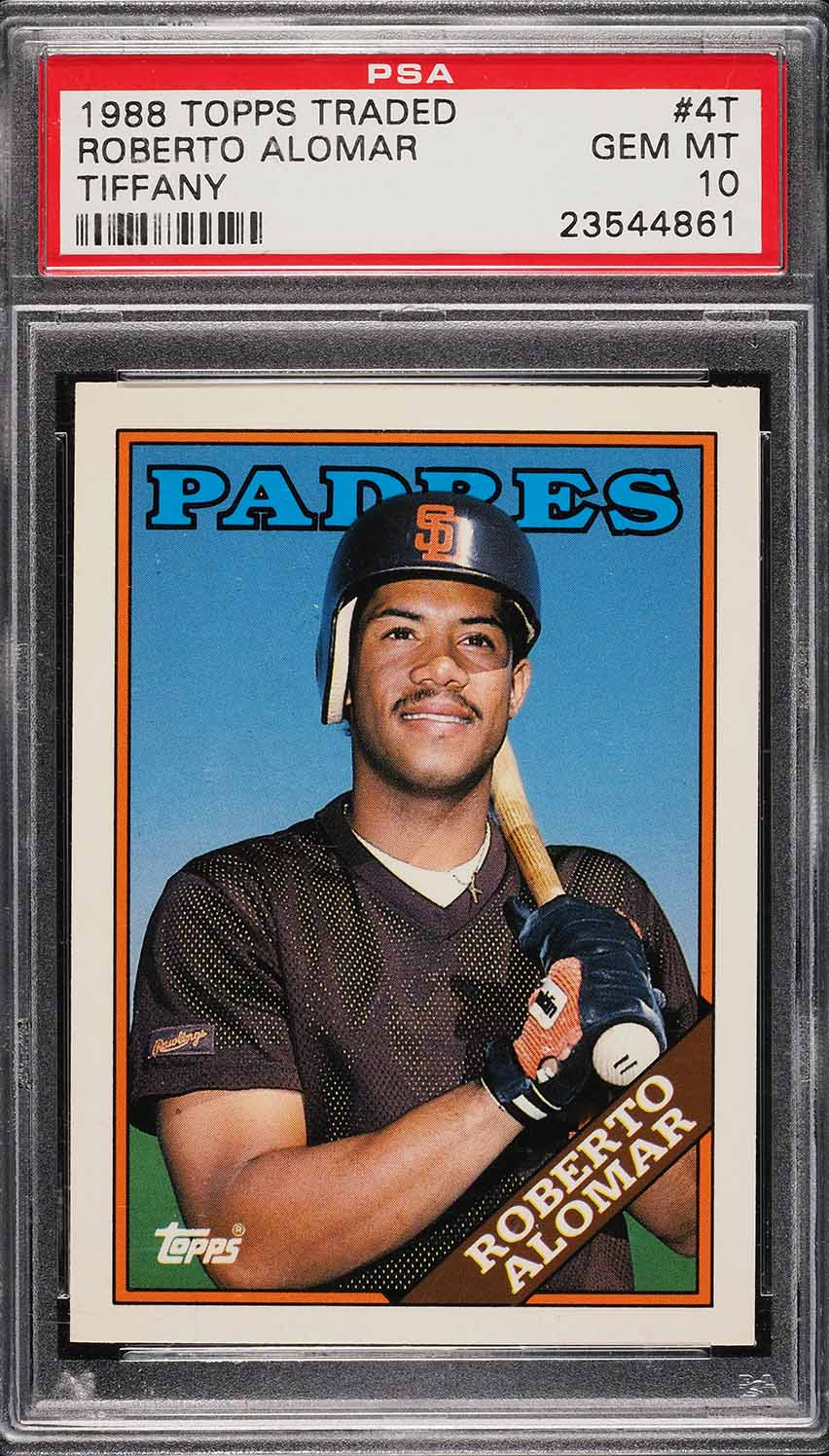 Image of: 1988 Topps Traded Tiffany Roberto Alomar ROOKIE RC #4T PSA 10 GEM MINT (PWCC)