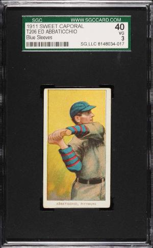 Image of: 1909-11 T206 Ed Abbaticchio BLUE SLEEVES, SC FACTORY 42 SGC 3 VG (PWCC)
