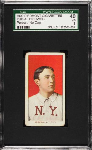 Image of: 1909-11 T206 Al Bridwell PORTRAIT, NO CAP SGC 3 VG (PWCC)
