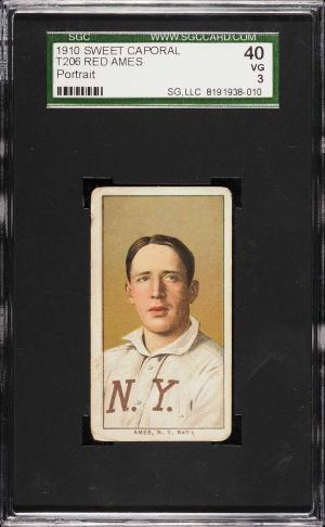Image of: 1909-11 T206 Red Ames PORTRAIT SGC 3 VG (PWCC)