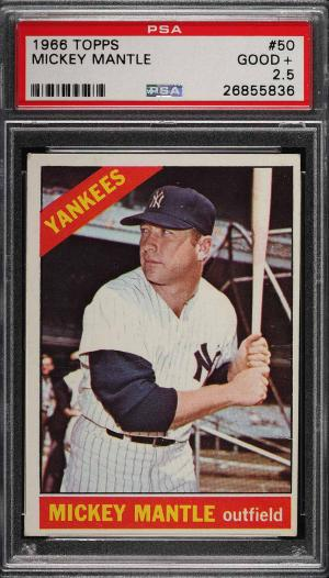 Image of: 1966 Topps Mickey Mantle #50 PSA 2.5 GD+ (PWCC)