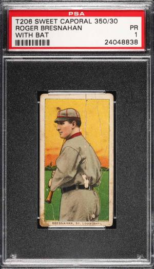 Image of: 1909-11 T206 Roger Bresnahan WITH BAT PSA 1 PR (PWCC)
