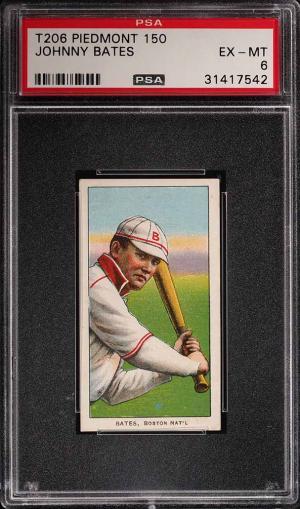 Image of: 1909-11 T206 Johnny Bates PSA 6 EXMT (PWCC)