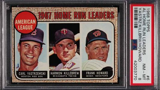 Image of: 1968 Topps Carl Yastrzemski Harmon Killebrew HR LDRS #6 PSA 8 NM-MT (PWCC)