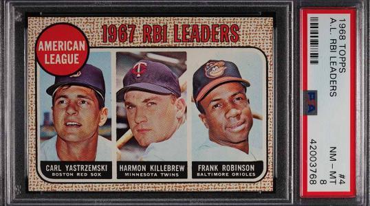 Image of: 1968 Topps Frank Robinson Yastremski Killebrew AL RBI LDRS #4 PSA 8 NM-MT (PWCC)