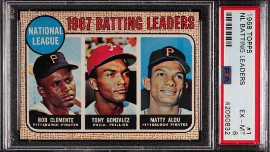 Image of: 1968 Topps Roberto Clemente Tony Gonzalez Matty Alou LDRS #1 PSA 6 EXMT (PWCC)