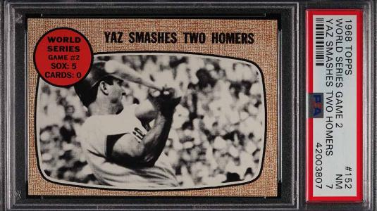 Image of: 1968 Topps Carl Yastrzemski WORLD SERIES GAME 2 #152 PSA 7 NRMT (PWCC)
