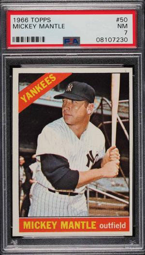 Image of: 1966 Topps Mickey Mantle #50 PSA 7 NRMT (PWCC)