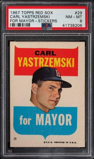 Image of: 1967 Topps Red Sox Stickers Carl Yastrzemski FOR MAYOR #29 PSA 8 NM-MT (PWCC)