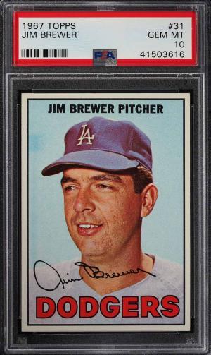 Image of: 1967 Topps Jim Brewer #31 PSA 10 GEM MINT (PWCC)
