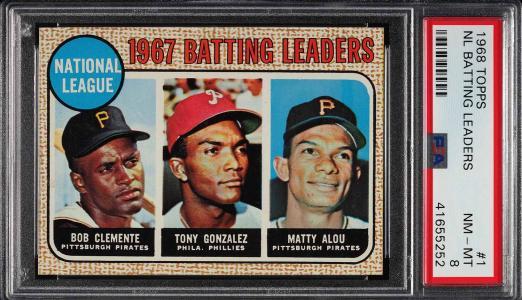 Image of: 1968 Topps Roberto Clemente Tony Gonzalez Matty Alou LDRS #1 PSA 8 NM-MT (PWCC)