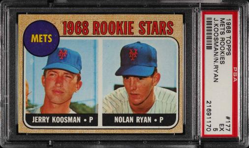 Image of: 1968 Topps Nolan Ryan ROOKIE RC #177 PSA 5 EX (PWCC)