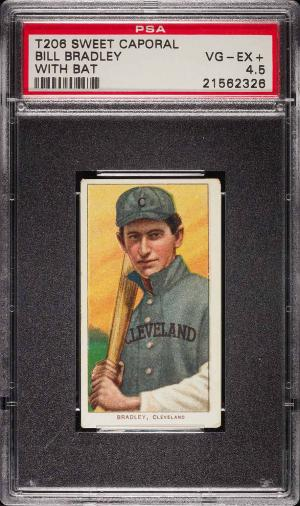 Image of: 1909-11 T206 Bill Bradley WITH BAT PSA 4.5 VGEX+ (PWCC)