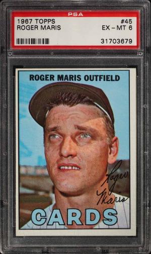 Image of: 1967 Topps Roger Maris #45 PSA 6 EXMT (PWCC)
