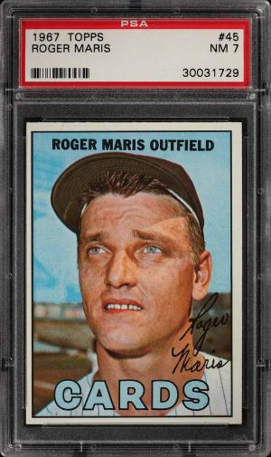 Image of: 1967 Topps Roger Maris #45 PSA 7 NRMT (PWCC)