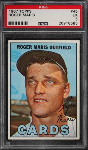 Image of: 1967 Topps Roger Maris #45 PSA 5 EX (PWCC)