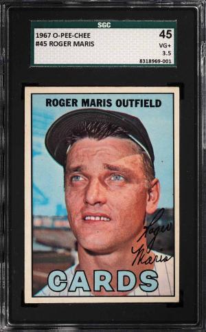 Image of: 1967 O-Pee-Chee Roger Maris #45 SGC 3.5 VG+ (PWCC)