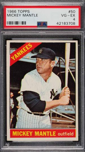 Image of: 1966 Topps Mickey Mantle #50 PSA 4 VGEX (PWCC)