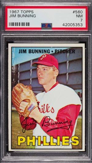 Image of: 1967 Topps Jim Bunning #560 PSA 7 NRMT (PWCC)