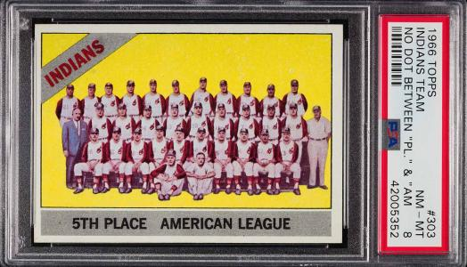 Image of: 1966 Topps Indians Team NO DOT VARIATION #303 PSA 8 NM-MT (PWCC)