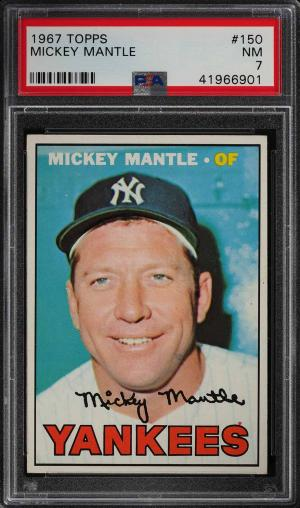 Image of: 1967 Topps Mickey Mantle #150 PSA 7 NRMT (PWCC)