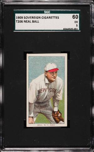 Image of: 1909-11 T206 Neal Ball NEW YORK, SOVEREIGN SGC 5 EX (PWCC)