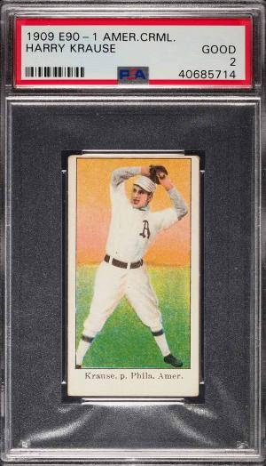 Image of: 1909 E90-1 American Caramel Harry Krause PSA 2 GD (PWCC)
