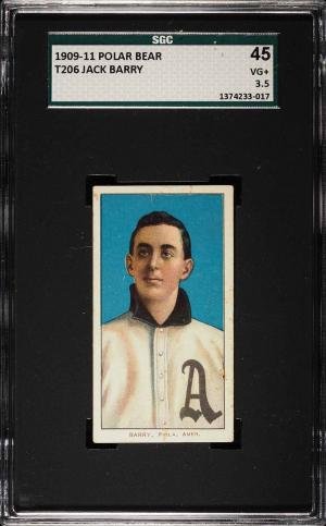 Image of: 1909-11 T206 Jack Barry PHILADELPHIA, POLAR BEAR SGC 3.5 VG+ (PWCC)
