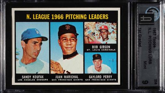 Image of: 1967 Topps Sandy Koufax Bob Gibson Marichal Perry NL LDRS #236 GAI 9 (PWCC)