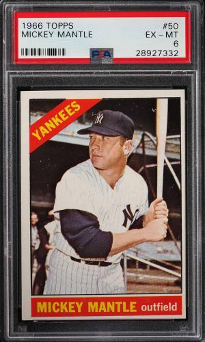 Image of: 1966 Topps Mickey Mantle #50 PSA 6 EXMT (PWCC)
